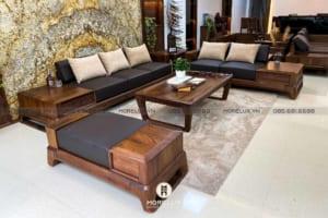 Bộ sưu tập sofa gỗ óc chó cho phòng khách sang trọng