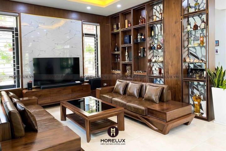 Thi công nội thất phòng khách với mẫu sofa hiện đại