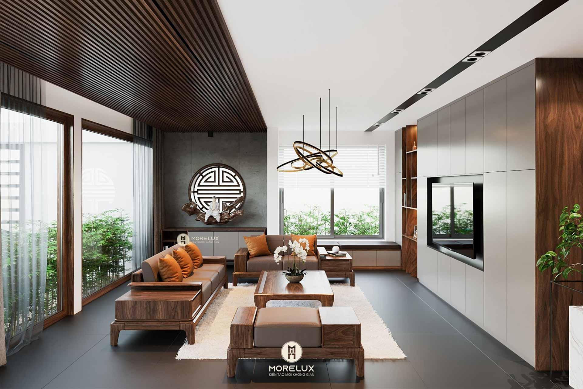 Thiết kế nội thất gỗ óc chó tại Bắc Ninh