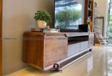 Kệ tivi gỗ đẹp với chất liệu gỗ óc chó