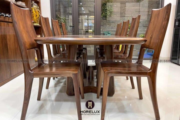 Bàn ghế ăn gỗ óc chó BA02