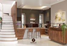thiết kế nội thất gỗ óc chó cho phòng bếp
