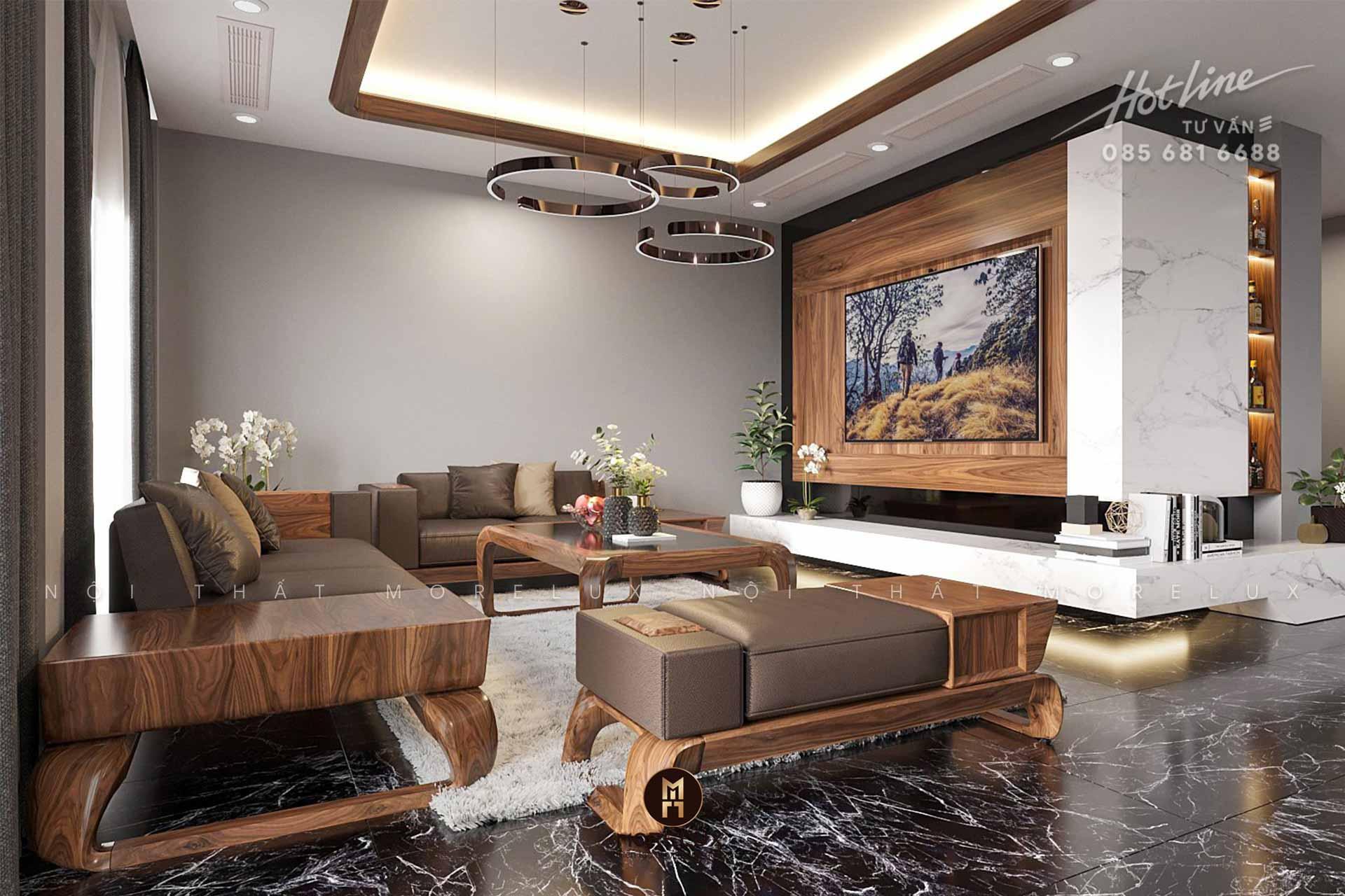 Thiết kế nội thất gỗ óc chó nhà phố