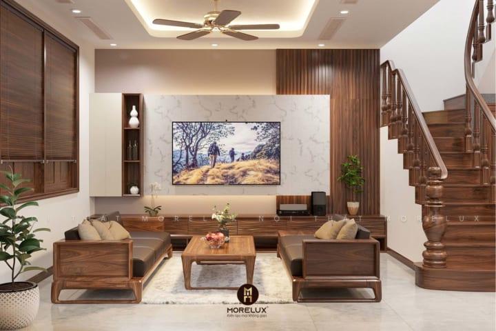 Thiết kế nội thất phòng khách gỗ óc chó