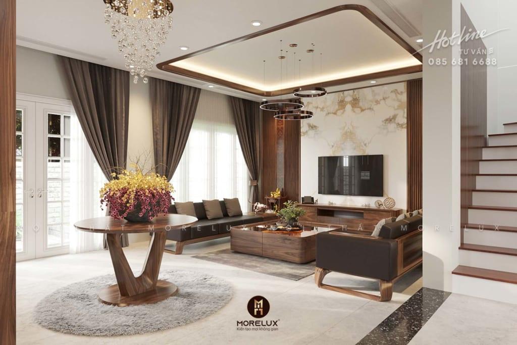 Thiết kế nội thất gỗ óc chó cho phòng khách tại biệt thự mỹ đình